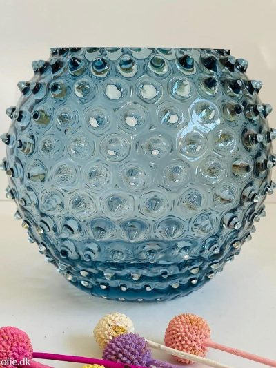 pindsvine vase 18 cm i blue smoke