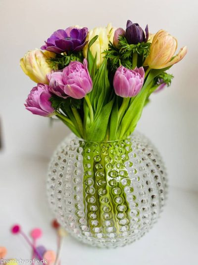 Vase i pindsvineglas i 24 cm i klar anna von lipa