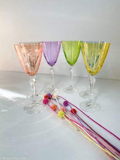 floral vinglas, vinglas, böhmiske vinglas, böhmiske glas, tjekkiske glas, vinglas i krystal