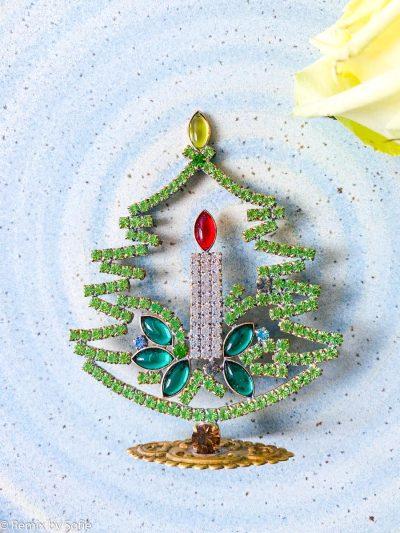 rhinstens juletræ, rhinstenstræ, juletræ i rhinststen, vintage juletræ, juletræ i vintagesten, vintage rhinstone, juletræer i sten, julepynt,christmas tree rhinstones, christmas ornament, Czech christmastree, remix by sofie