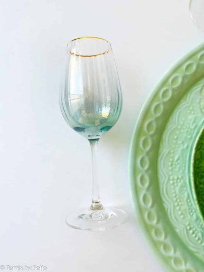 kate glas med guldkant grøn, vinglas