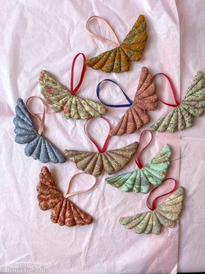 sissel edelbo, julepynt, silke julepynt, pynt af sarier, indisk julepynt, silke hjerte, genbryúgs pynt, bæredygtighed