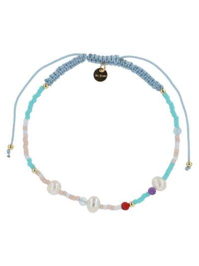bow's by stær, armbånd, smykker, perlearmbånd, perler, ædelstensperler, blue, blå, blue mix, knyttet armbånd,