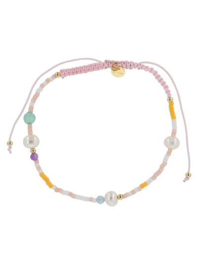 bow's by stær, armbånd, smykker, perlearmbånd, perler, ædelstensperler, rosa, rosa mix, knyttet armbånd,