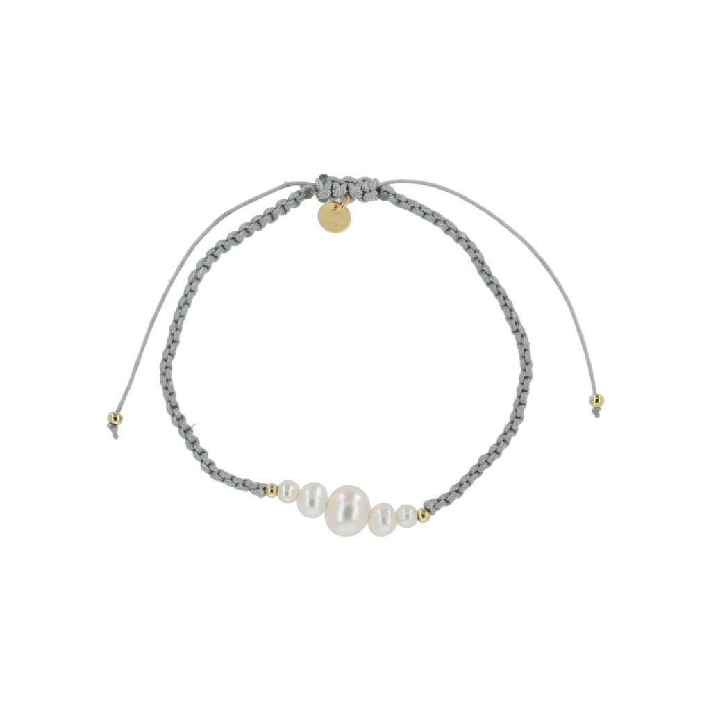 bow's by stær, armbånd, smykker, perlearmbånd, perler, ferskvandsperler, grå, grey, knyttet armbånd,