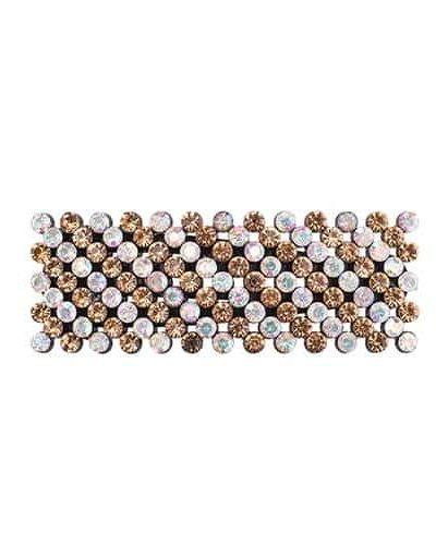 bow's by stær, hårspænde, spænde, hårpynt, hårtilbehør, stribet spænde, gul, klar, krystalsten,