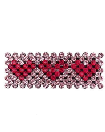 bow's by stær, hårspænde, spænde, hjerter, hearts, krystalsten, røde hjerter, zoey, zoey spænde, rosa,