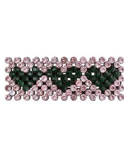 bow's by stær, hårspænde, spænde, hjerter, hearts, krystalsten, grønne hjerter, zoey, zoey spænde, rosa,