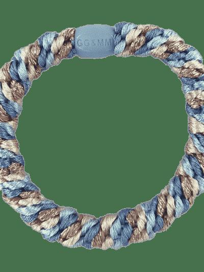 hår elastik, hårelastik, harties, hårpynt, bow's by stær, multifarvet, glitter, glitter elastik, blue ivory glitter, blue, ivory,