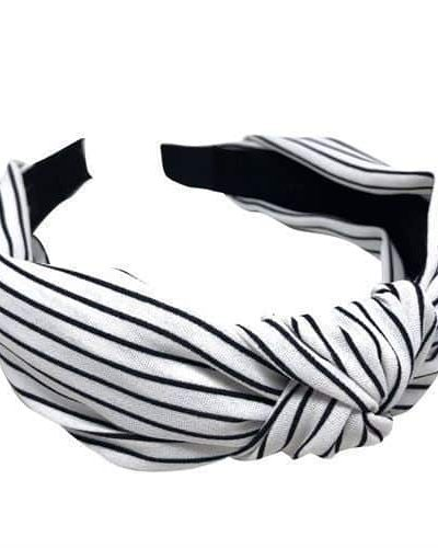 bow's by stær, hårbøjle, hårtilbehør, hårpynt, striber, stribet, white stripe, stripe white, sort og hvid, sort og hvid hårbøjle,