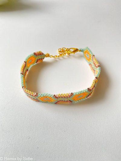 armbånd, perlearmbånd, håndlavet armbånd, håndlavede smykker, håndlavet arrmånd, kulørte armbånd, remix by sofie
