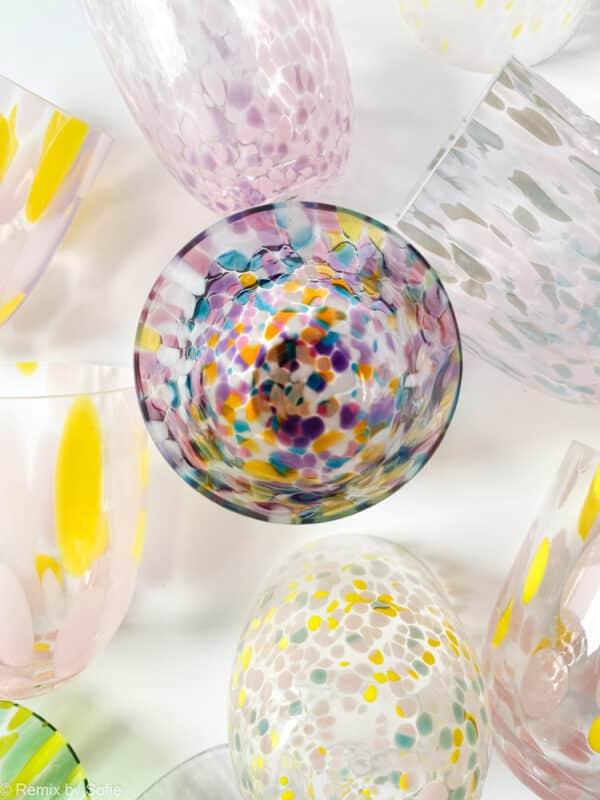 remix by sofie, full multicolor, anna von lipa, confetti glas, anna von lipa glas, splash glas, glas med opal pletter, bohemain glasses, mundblæste glas, handblown glasses, czech design, czech glasses