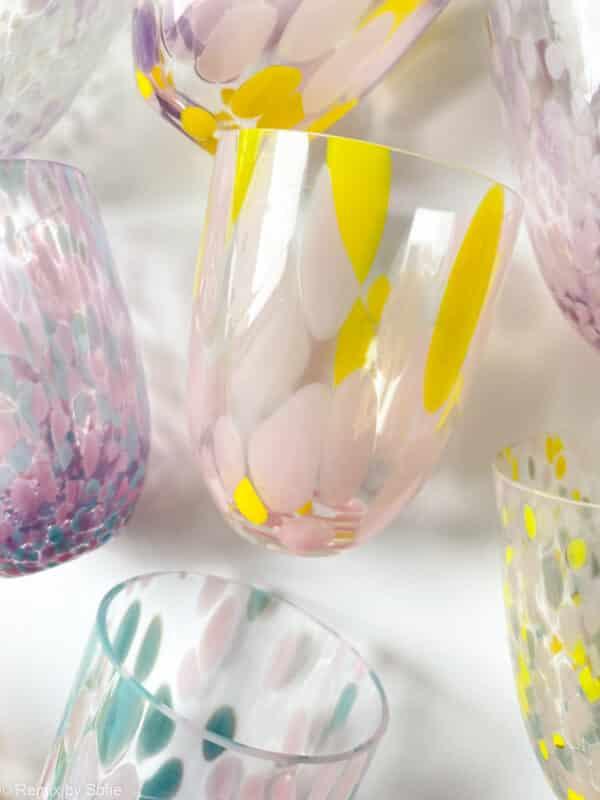 anna von lipa, confetti glas, anna von lipa glas, splash glas, glas med opal pletter, bohemain glasses, mundblæste glas, handblown glasses, czech design, czech glasses