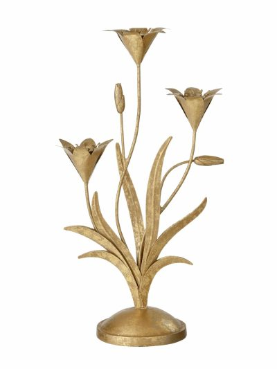 bungalow lysestager golden lilje, lysestage 3 lys, kandelaber