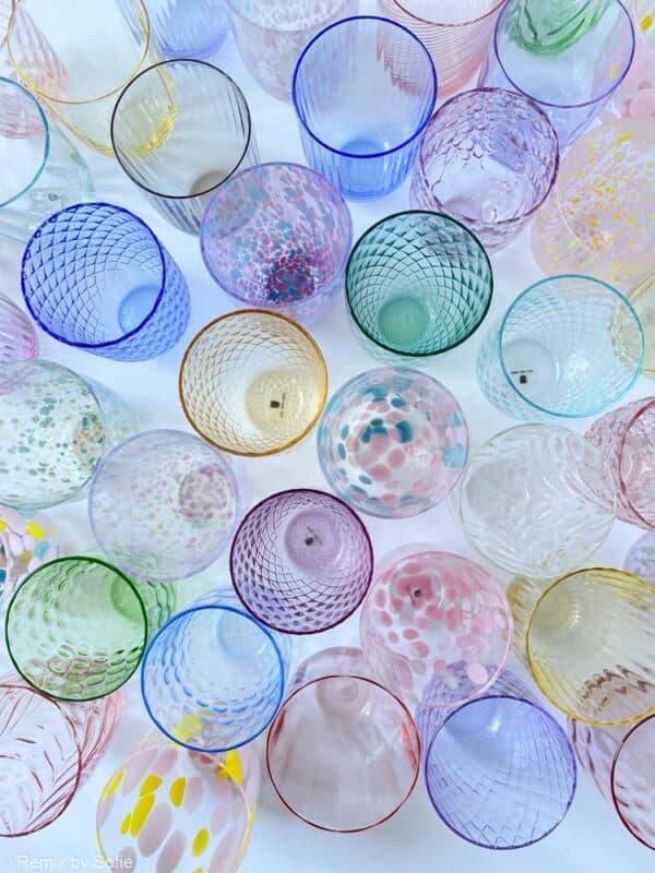 anna von lipa, Remix by Sofie, anna von lipa glas, mundblæste glas, handblown glass, glas, drikkeglas, vandglas, farvede glas, mix og matck glas, mix & matck glas, tumbler, wawe glas, swirk glas, harlekin glas, spiral glas, bambus glas, oliveglas, borddækning, anna von lipa glas, anna von lipa forhandler