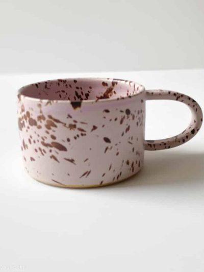 Stanied rose, rosa glasur, kop, hvid glasur kop med splash, stentøjs kop, keramik kop, ceramic cups, handmade cups, kaffekop, tekop, den perfekte kop, borddækning