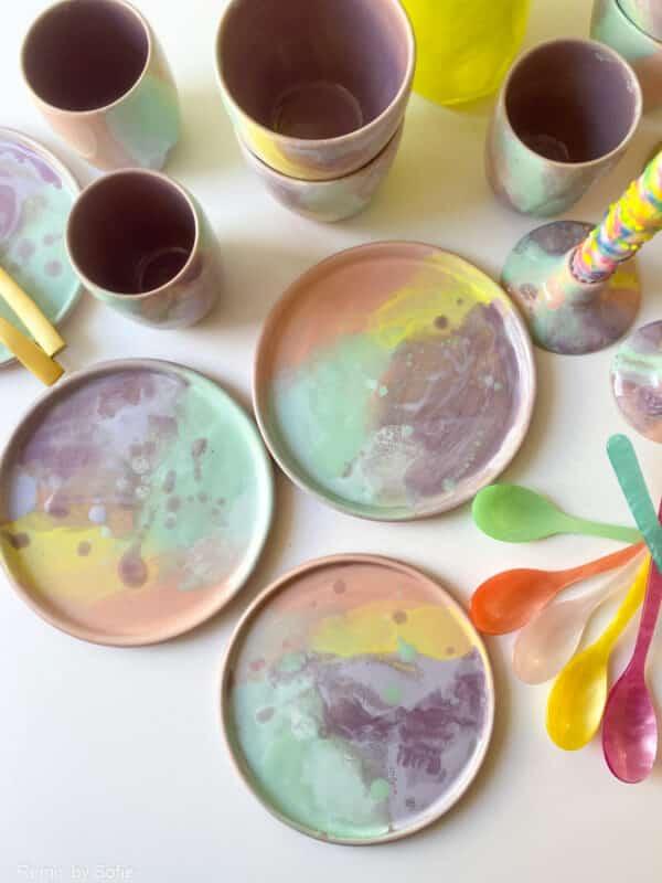 rainbow splash skål, keramik skål, keramic bowl, clay by tina marie, remix by sofie, morgenmadsskål, pastelfarvet skål