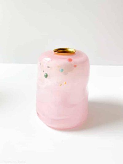 lyserød lysestage, lyserød, tidal lysestage, lysestager, mundblæste lysestager. opalglas, opaline, glass blow lysestage
