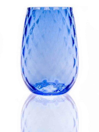 harlekin, lyseblå, big hekla,drikkeglas, vandglas, mundblæst glas, clara glas, sjus glas,