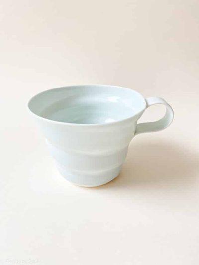 rikke maglesen keramik turkis, porcelæns kop, kaffe kop, kop, pastelfarvet kop, kaffekop, tekop