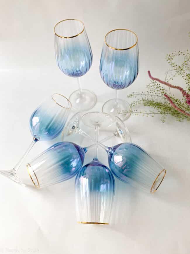 kate vinglas, vinglas med guld kant, waterfall effekt, remix by sofie, vinglas, bohemian wineglas,